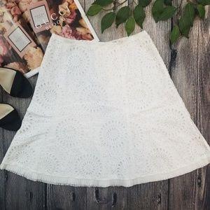 Prada White Eyelet Floral A Line Skirt